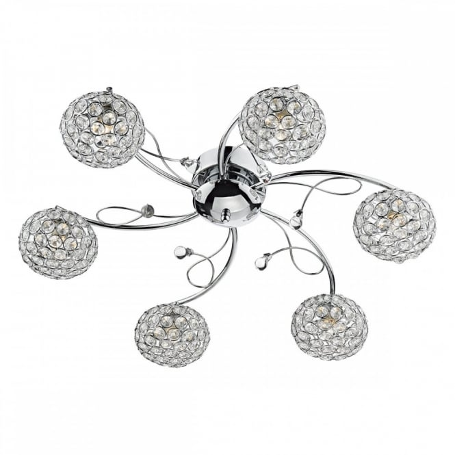 The Lighting Book EDEN Chrome and Crystal Ceiling Light Fitting a Modern 6 Arm Light for standard and Low Ceiling Heights.