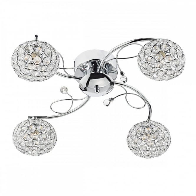 The Lighting Book EDEN Chrome and Crystal Ceiling Light Fitting a Modern Light for standard and Low Ceiling Heights.