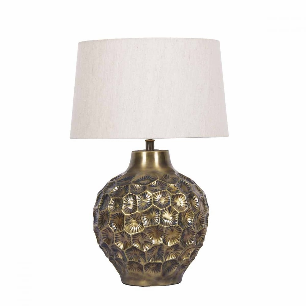 EDVARD Antique Bronze Textured Table Lamp With Linen Shade