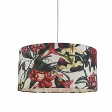 white and pink floral easy fit pendant shade