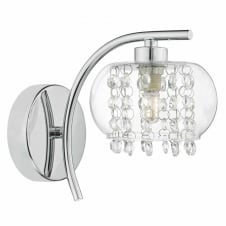 chrome wall light with glass shade and crystal droplets