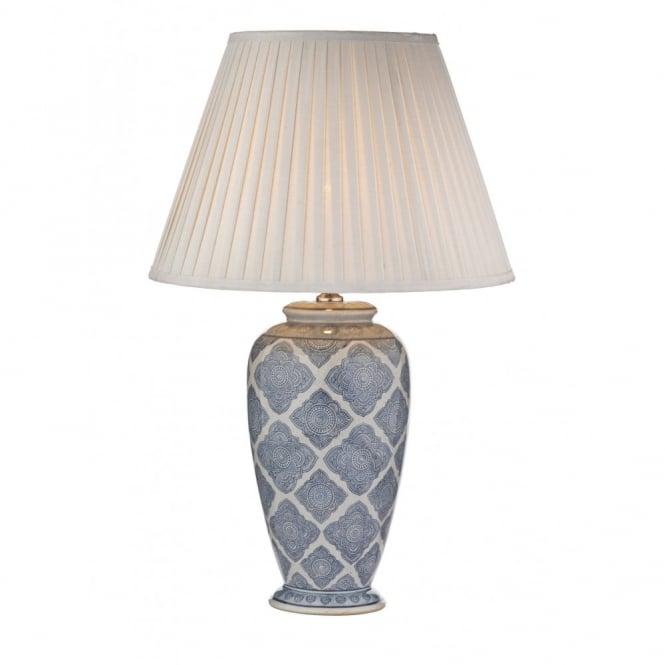 Decorative pale blue white geometric table lamp base ely pale blue and white geometric table lamp base no shade aloadofball Choice Image