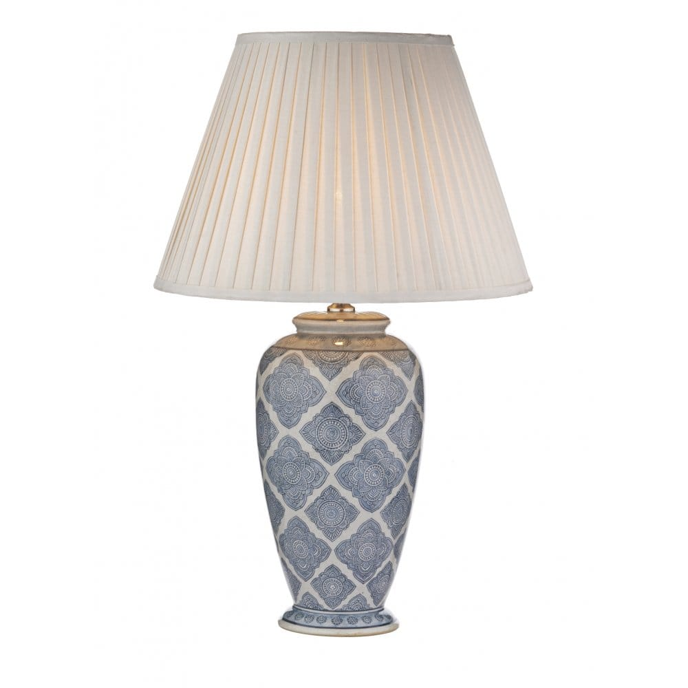 decorative pale blue white geometric table lamp base. Black Bedroom Furniture Sets. Home Design Ideas