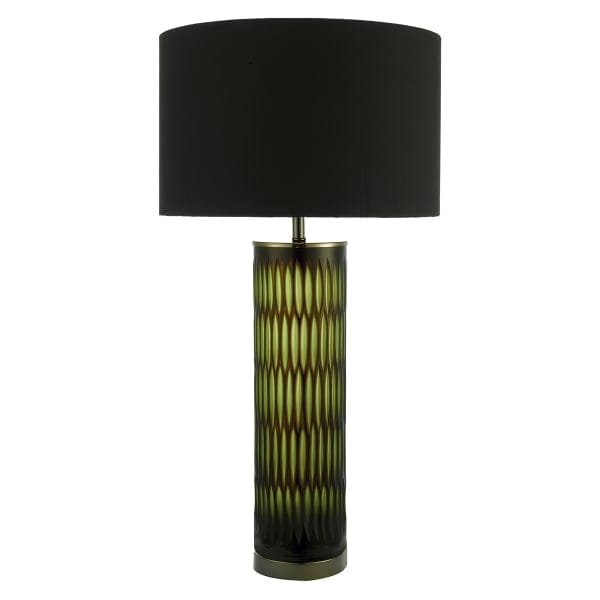 Modern Green And Brown Cut Glass Table Lamp With Black Shade