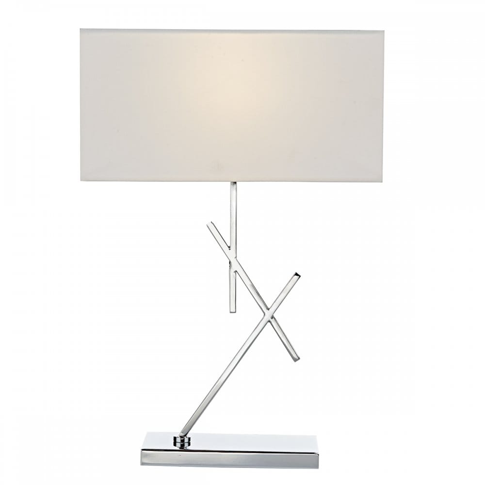 Modern Polished Chrome Table Lamp With Criss Cross Offset Stem