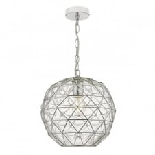 modern hand blown dimple glass ceiling pendant with chrome frame