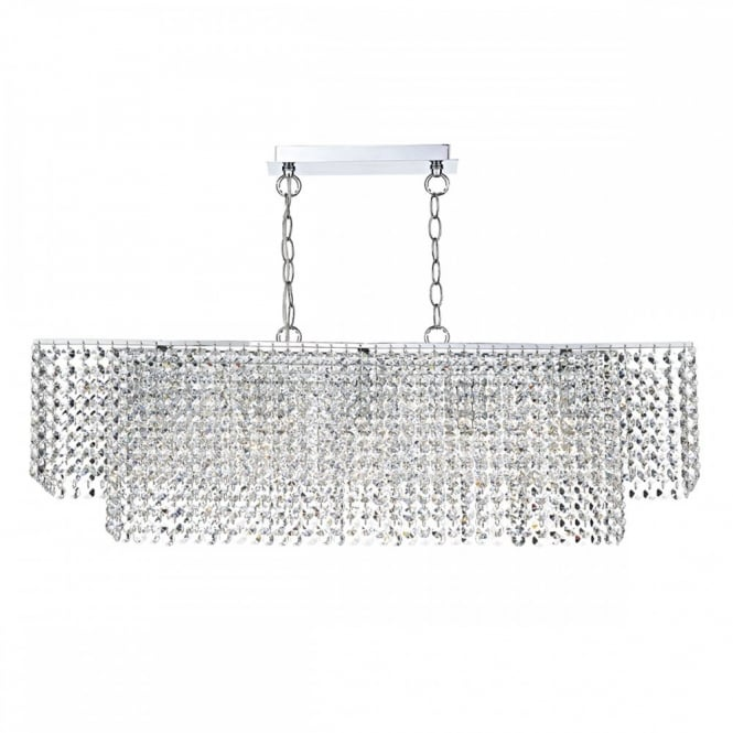 The Lighting Book ENNIS Linear Shaped Double Insulated Bar Pendant, Covered in a Double layer of Crystal Droplets.