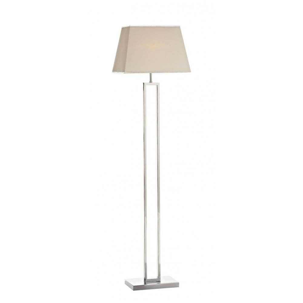 Envoy Modern Chrome Floor Standing Lamp With Faux Silk