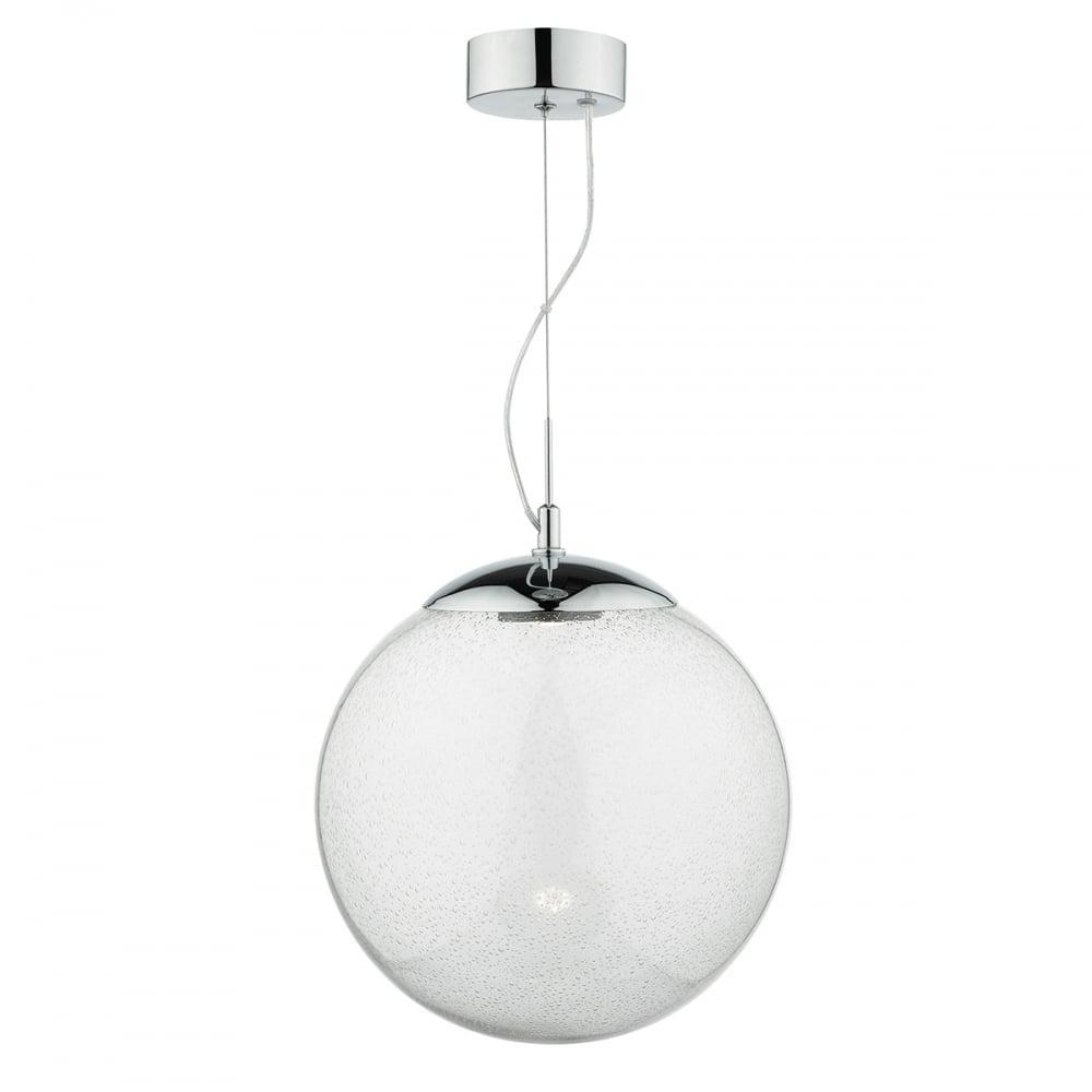 Led Ceiling Light Globe: Seeded Glass Globe LED Ceiling Pendant With Chrome Suspension