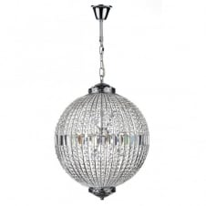 EQUATOR crystal glass & chrome 12lt pendant