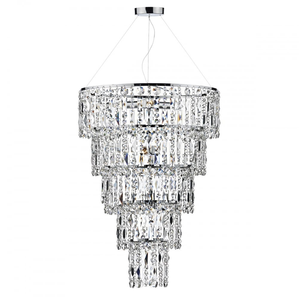 Modern chandelier crystal tiered high ceiling light fitting crystal long drop ceiling light fitment stairwell lights mozeypictures Gallery