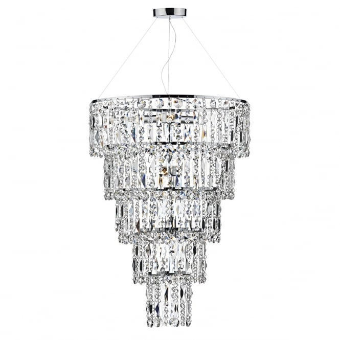 ESCALA decorative 6 light round crystal ceiling pendant