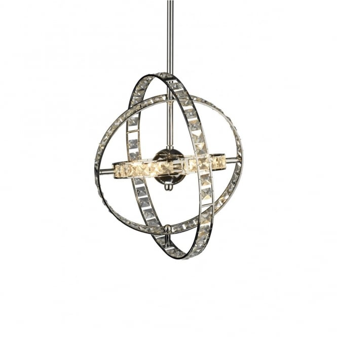 The Lighting Book ETERNITY chrome & crystal hooped pendant light