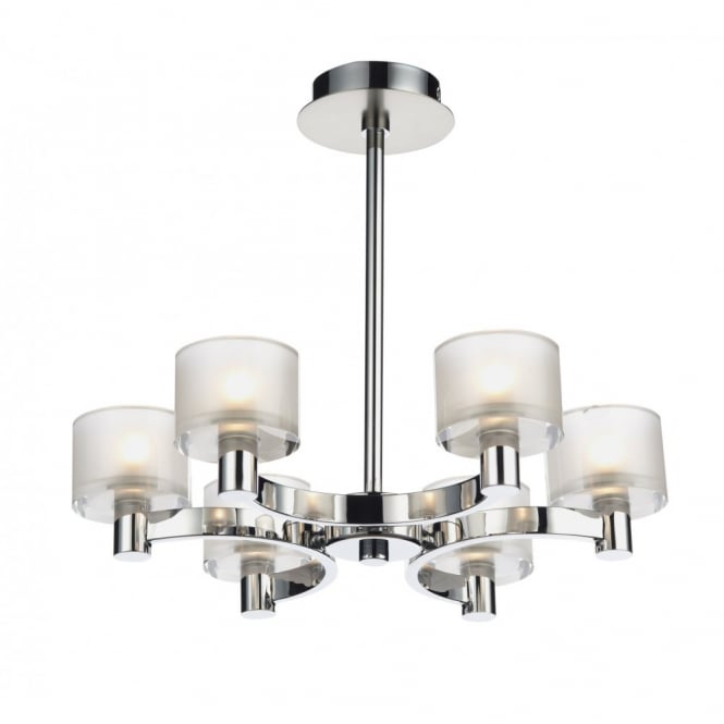 Modern semi flush ceiling light in chrome finish with frosted glass eton 6lt semi flush chrome ceiling light aloadofball Choice Image