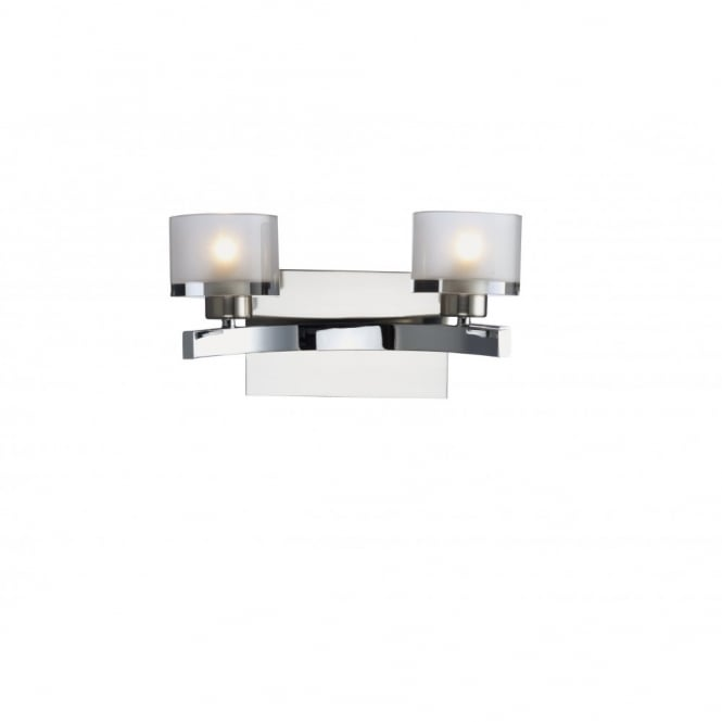 The Lighting Book ETON chrome double wall light & frosted glass shades