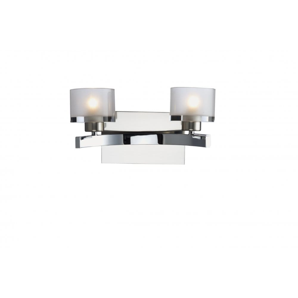 Modern Wall Light with Chrome Finish and Frosted Glass Shades/