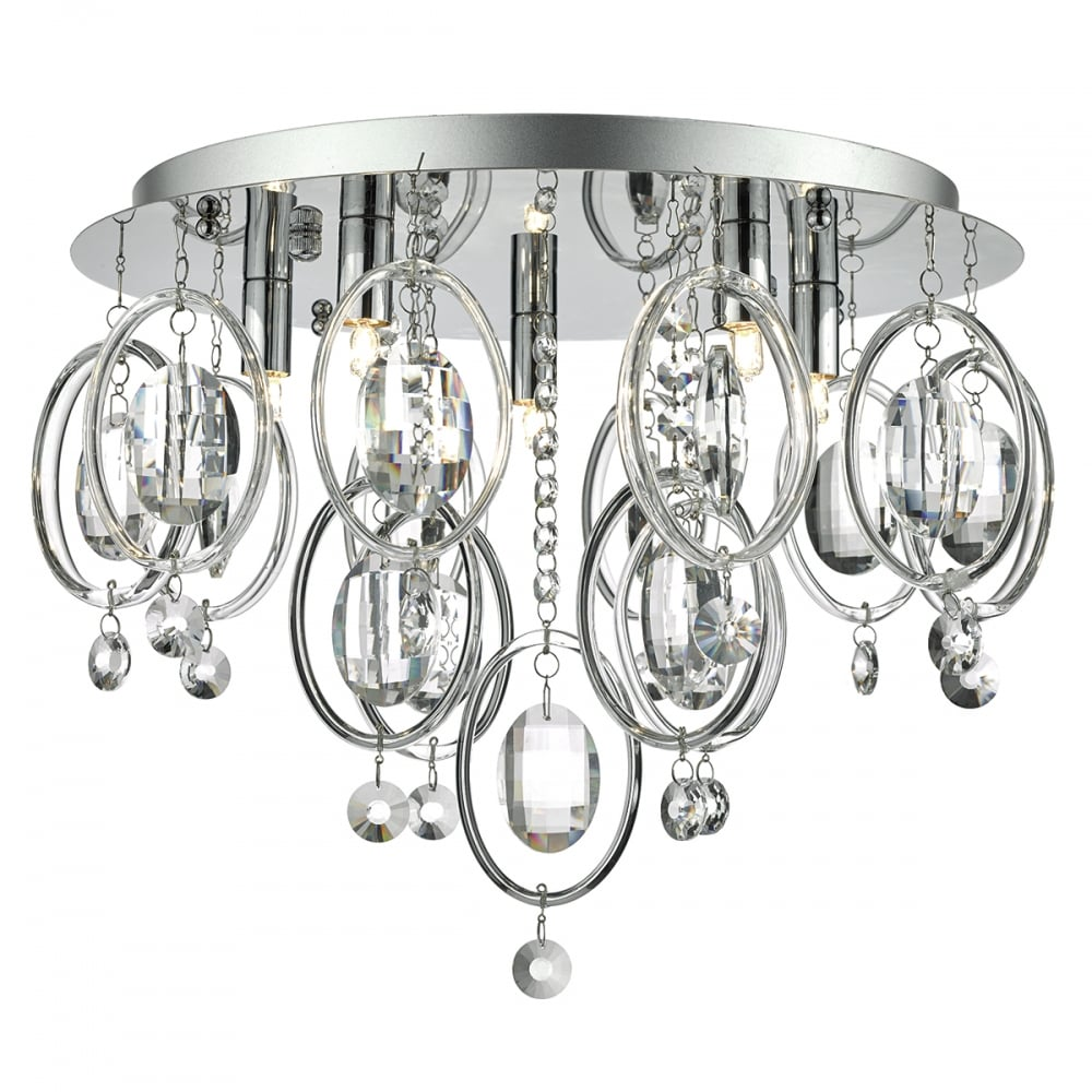 Decorative flush fit ceiling light in chrome with crystal hoops flush chrome ceiling light with crystal droplets aloadofball Gallery