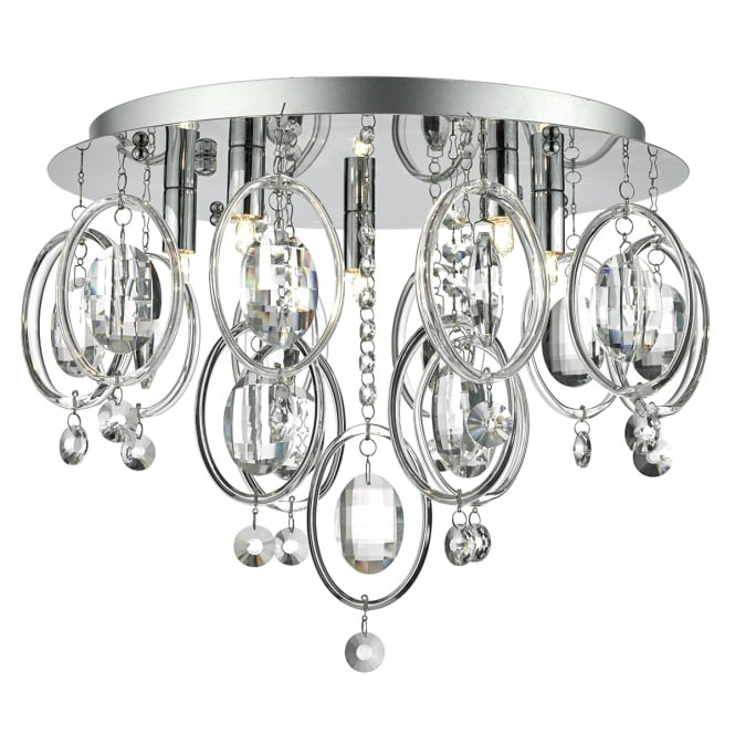 The Lighting Book EVANGELINE decorative chrome and crystal 5 light flush ceiling light