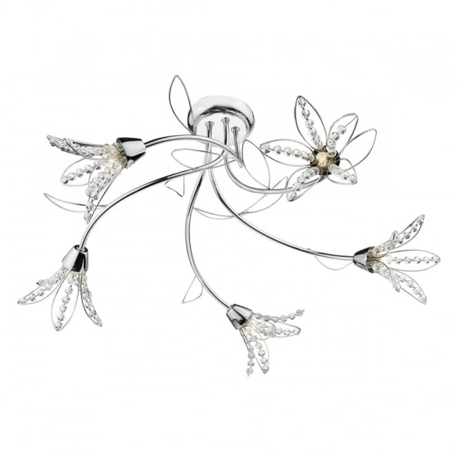 The Lighting Book FABRIENNE floral 5 light semi flush chrome and crystal bead ceiling light