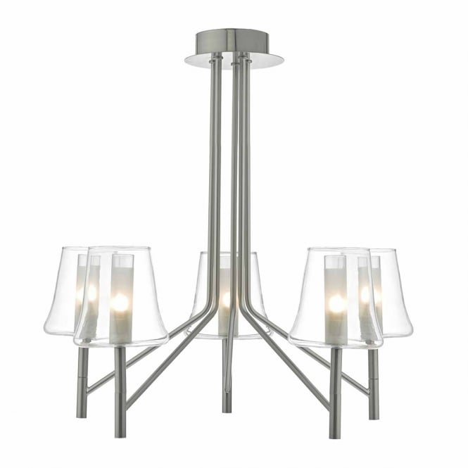 FAVA 5 light ceiling light in satin chrome with glass shades