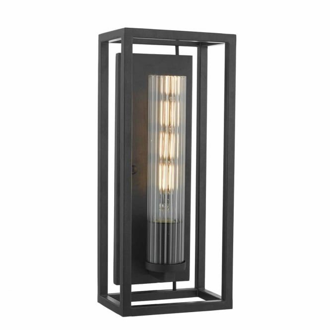 FELIPE black lantern wall light with tubular ribbed glass shade