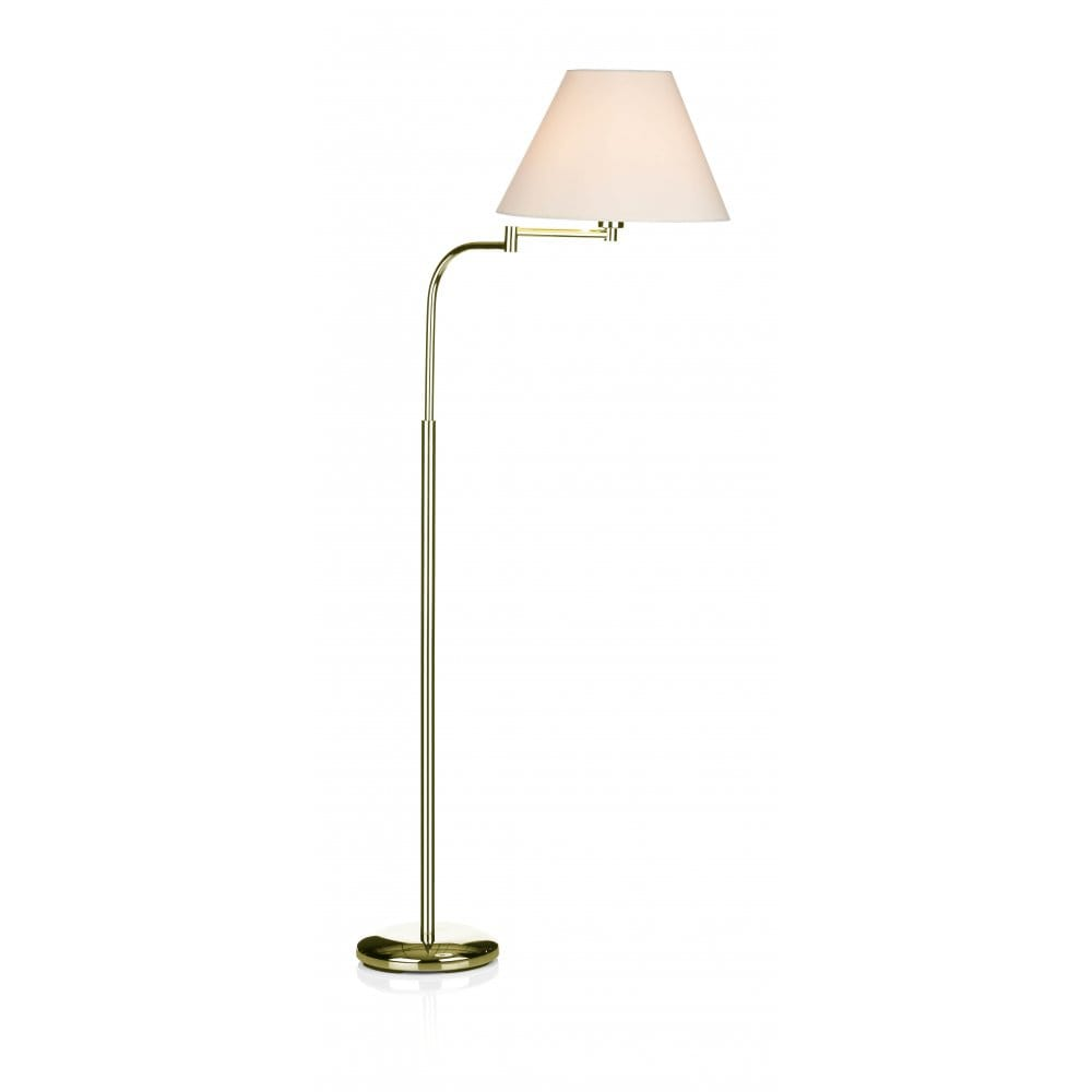 brass floor standard lamp complete with shade reading light. Black Bedroom Furniture Sets. Home Design Ideas