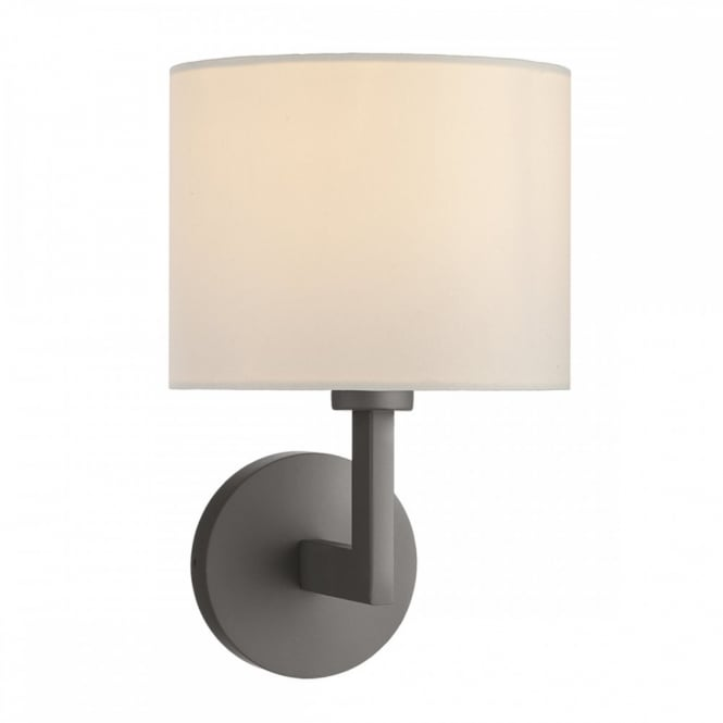 FERRARA Bronze wall light complete with fabric shade, hotel style.