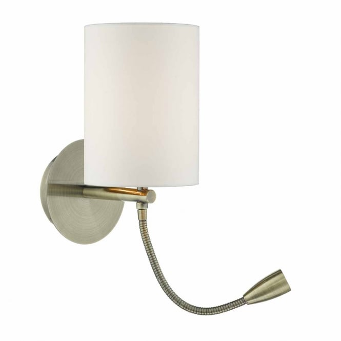 The Lighting Book FETA antique brass wall light with LED reading arm (excludes shade)