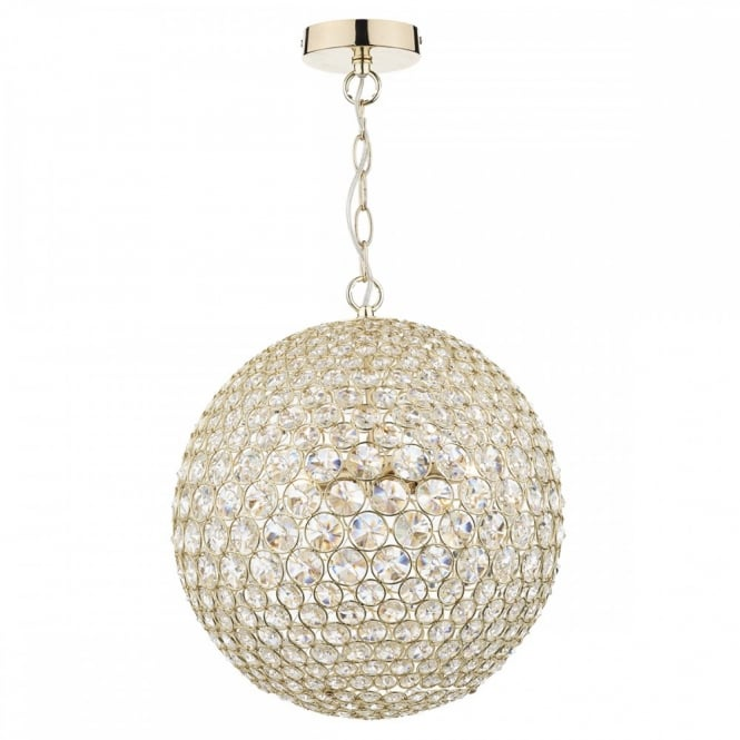 FIESTA polished gold and crystal glass globe ceiling pendant 5lt