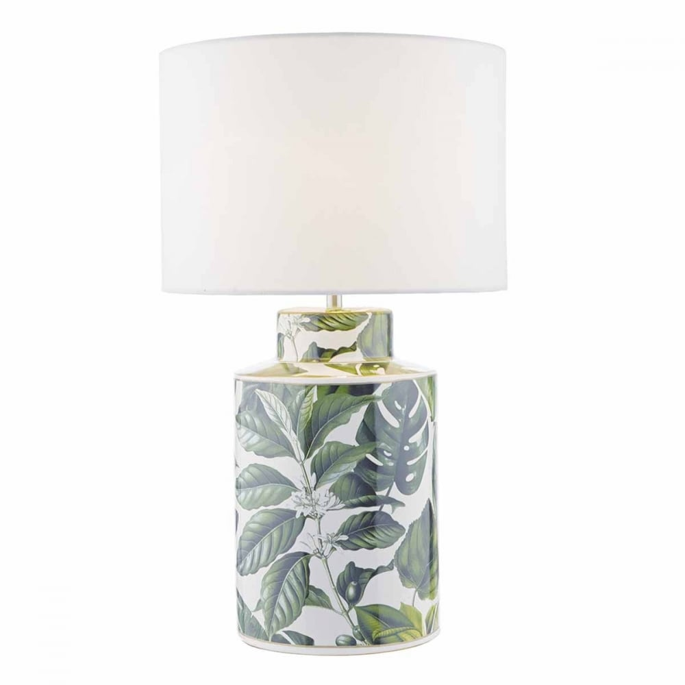 Green Floral Ceramic Table Lamp Base