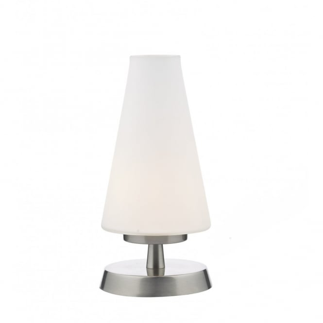Contemporary satin chrome touch lamp with opal shade finn modern satin chrome touch lamp with opal glass shade aloadofball Gallery