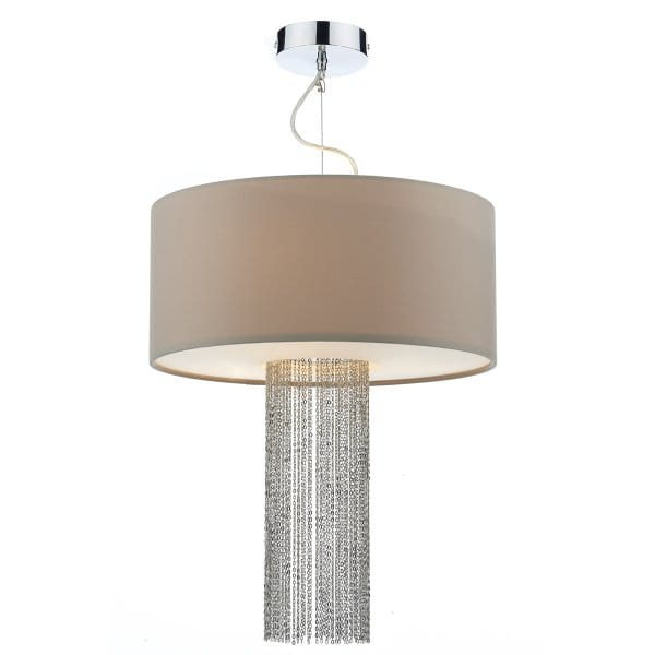 Contemporary Taupe Ceiling Pendant With Fabric Diffuser