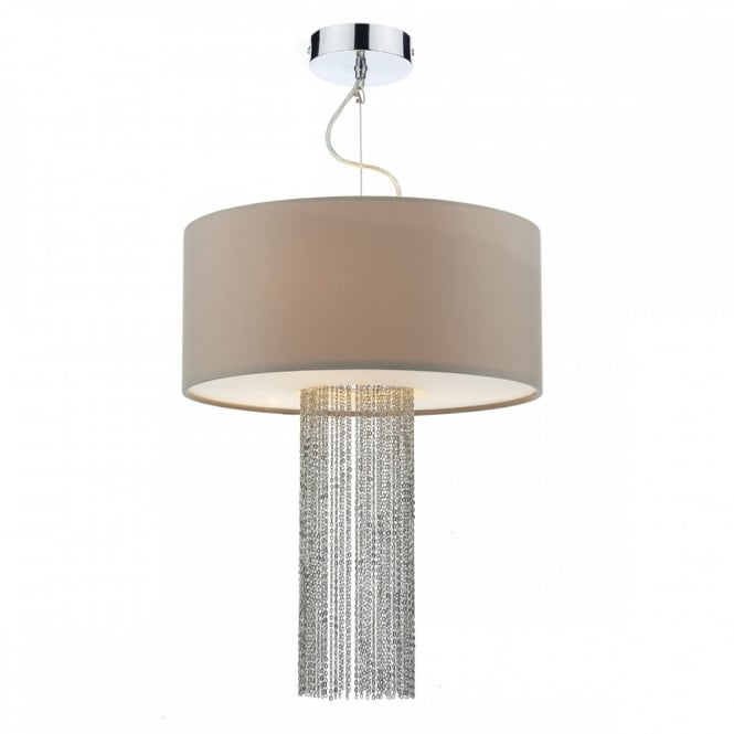 The Lighting Book FITZGERALD modern 3 light ceiling pendant with taupe shade & chain insert