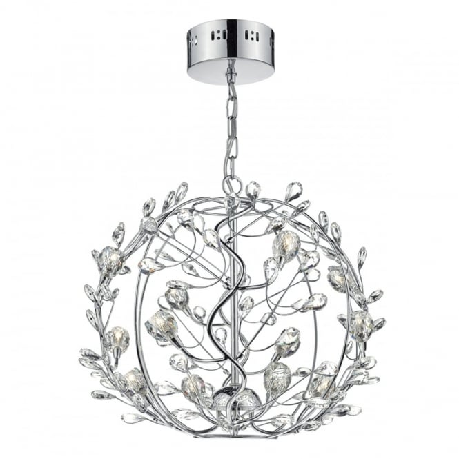 The Lighting Book FLIRT crystal glass and chrome 12 light ceiling pendant