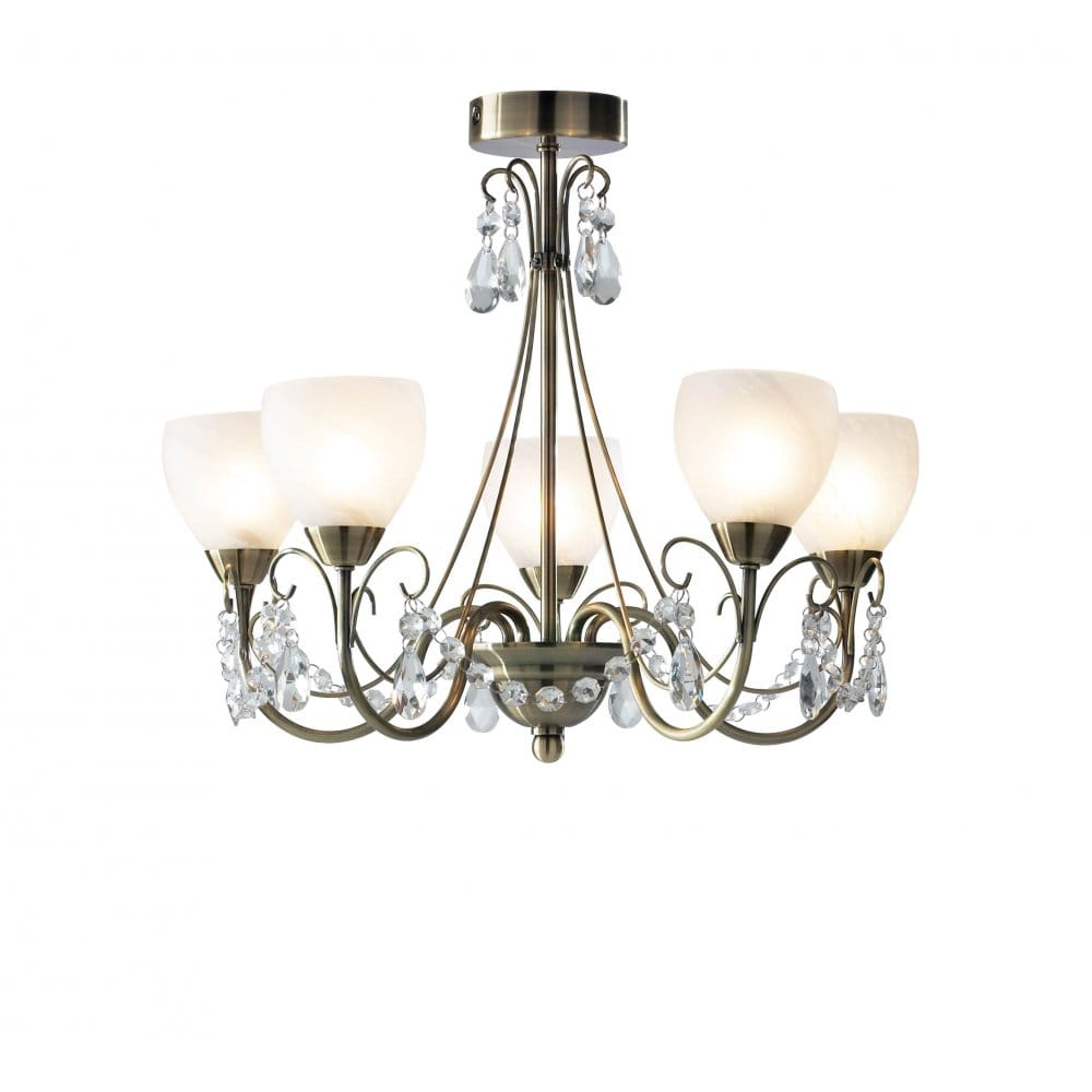 Brass Chandelier Ceiling Lights : Compact light semi flush ceiling chandelier for low ceilings