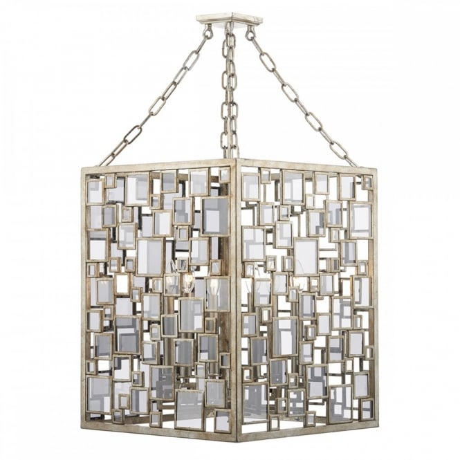 The Lighting Book FOYER decorative cubed 4 light ceiling pendant in antique silver and gold