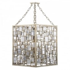 FOYER decorative cubed 4 light ceiling pendant in antique silver and gold