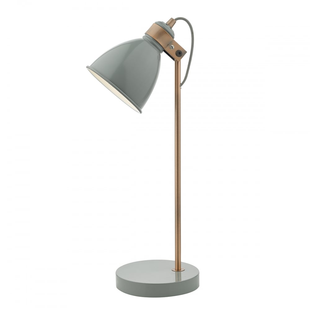 Gloss Grey and Copper Desk Lamp - Switched and Double Insulated