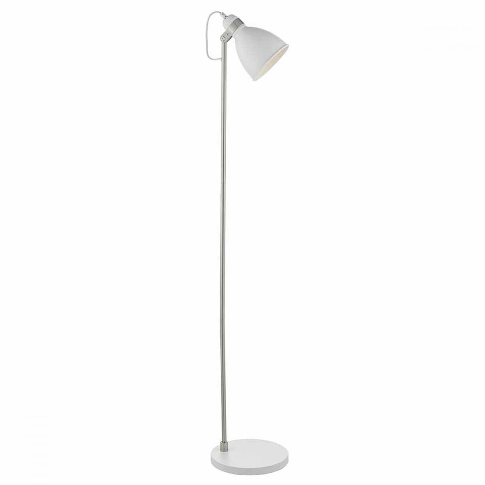 Frederick retro white and satin chrome floor lamp for Darlington floor lamp chrome