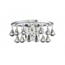 FRINGE decorative polished chrome and crystal glass bathroom wall light