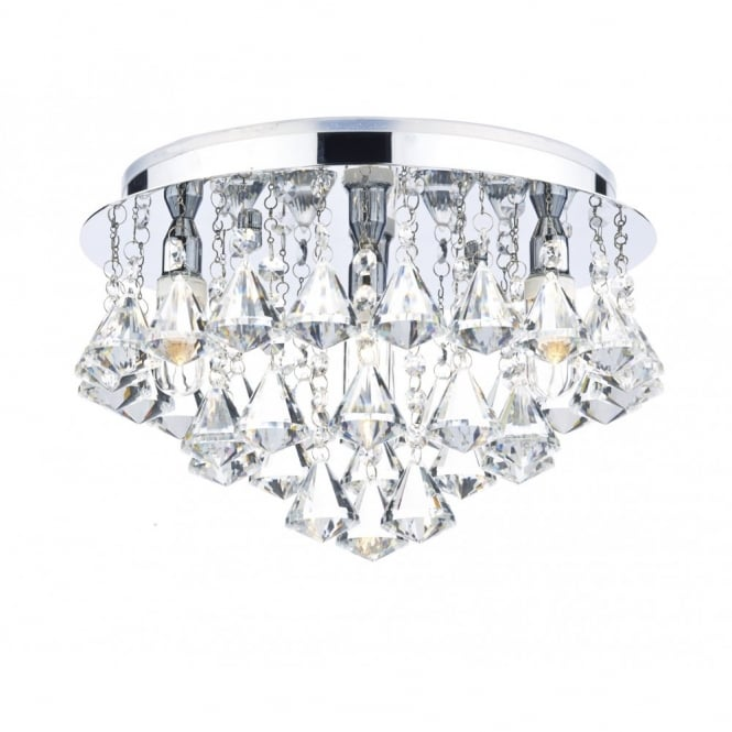 Decorative Contemporary Bathroom Ceiling Light in Chrome & Crystal