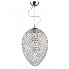 FROST double insulated chrome & crystal ceiling pendant