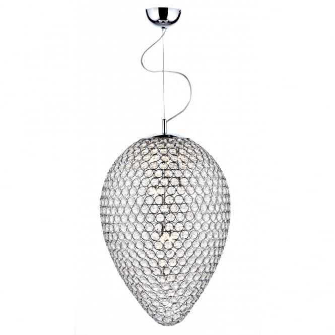 The Lighting Book FROST double insulated chrome & crystal pendant light