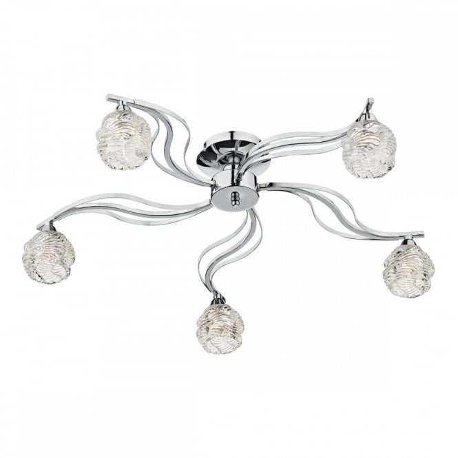 The Lighting Book FUEGO decorative modern 5 light chrome semi flush ceiling light with glass shades