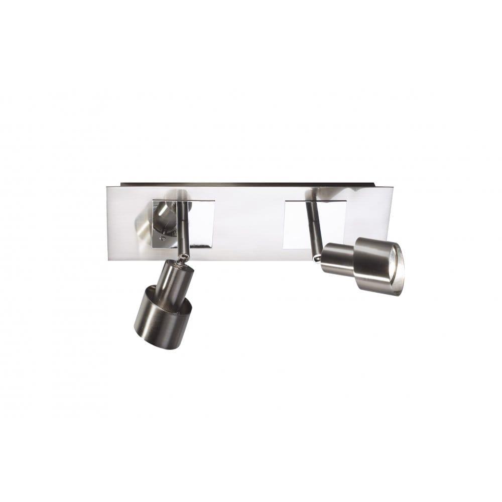 Twin Wall Spotlights Bar in Satin Chrome. Buy Modern Wall Spotlighting