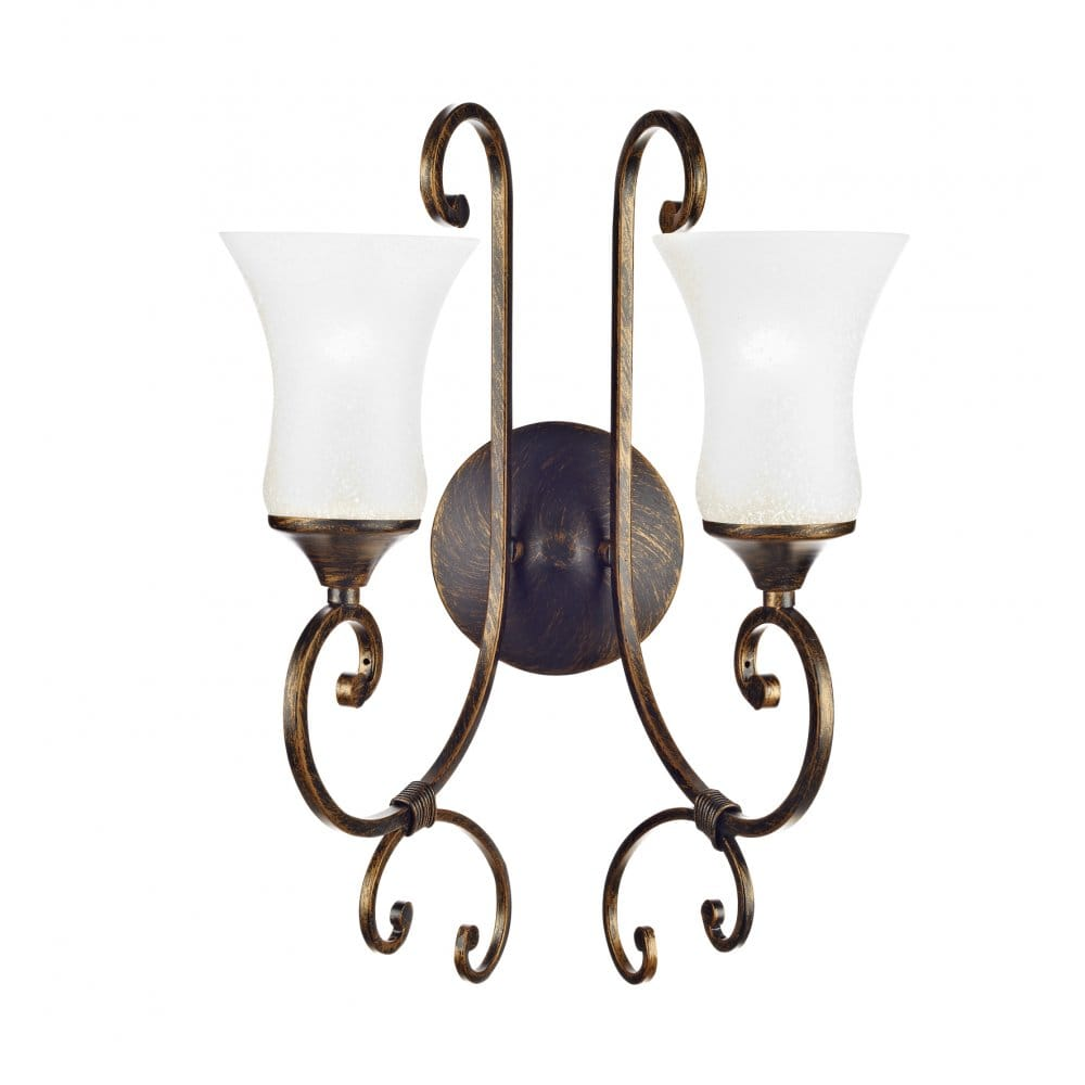Double Insualted Twin Gatsby Wall Light, Black Gold Scrolls