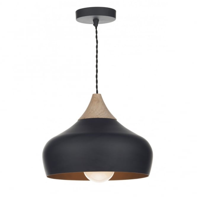 The Lighting Book GAUCHO black & wood ceiling pendant