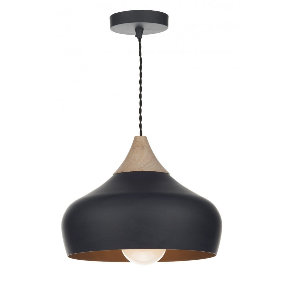 Contemporary black wood ceiling pendant double insulated for Suspension metal noir