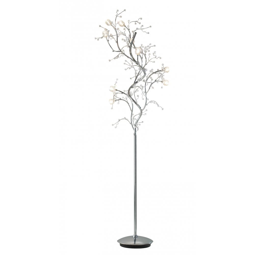 Modern chrome and crystal floor standard lamp - Lampadaire 3 branches ...