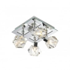 GEO crystal spotlights square chrome ceiling plate